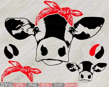 Cow Head whit Bandana Silhouette clipart bull cowboy cattle ox Farm Milk  828S.