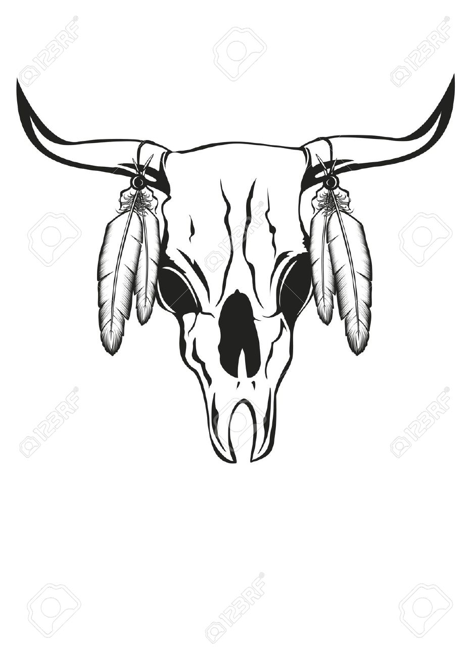 Illustration Skull Bull With Feathers Royalty Free Cliparts.