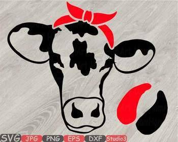 Cow Head whit Bandana Silhouette SVG clipart cowboy western Farm Milk 775S.