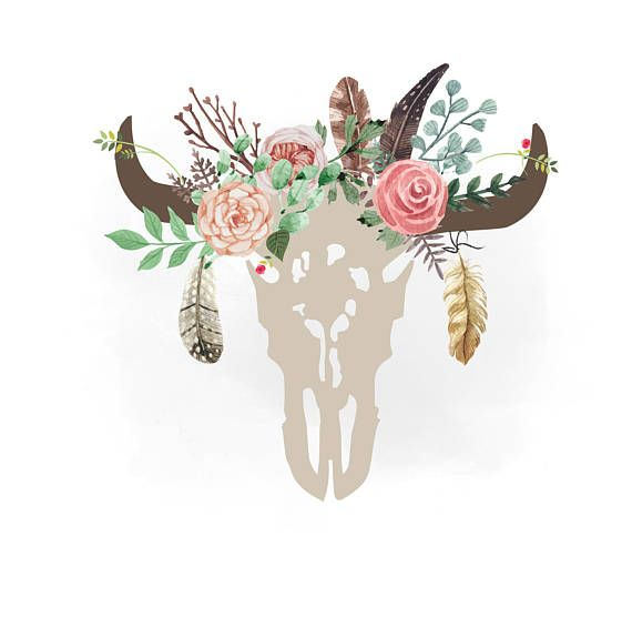 Gypsy cow skull svg clipart, Boho floral cow Skull Clipart.
