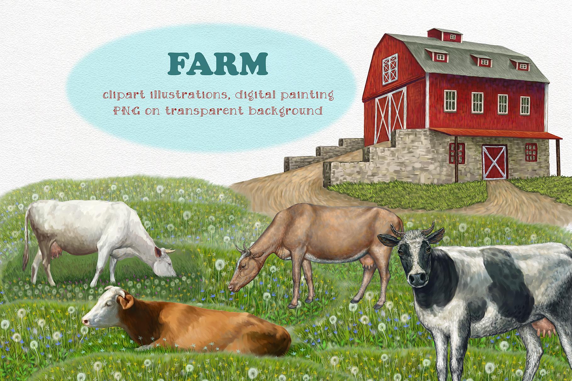 Farm. Cows clipart, Illustrations.