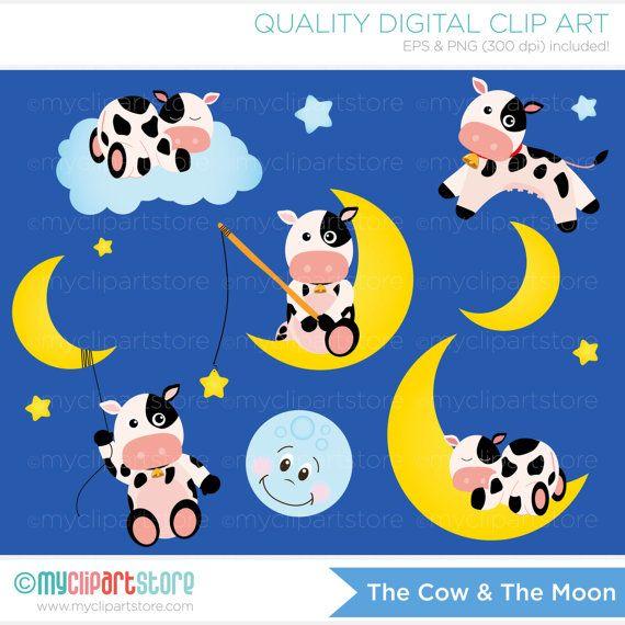 Cow and Moon Clipart, sleepy time, cute cows, baby nursery.