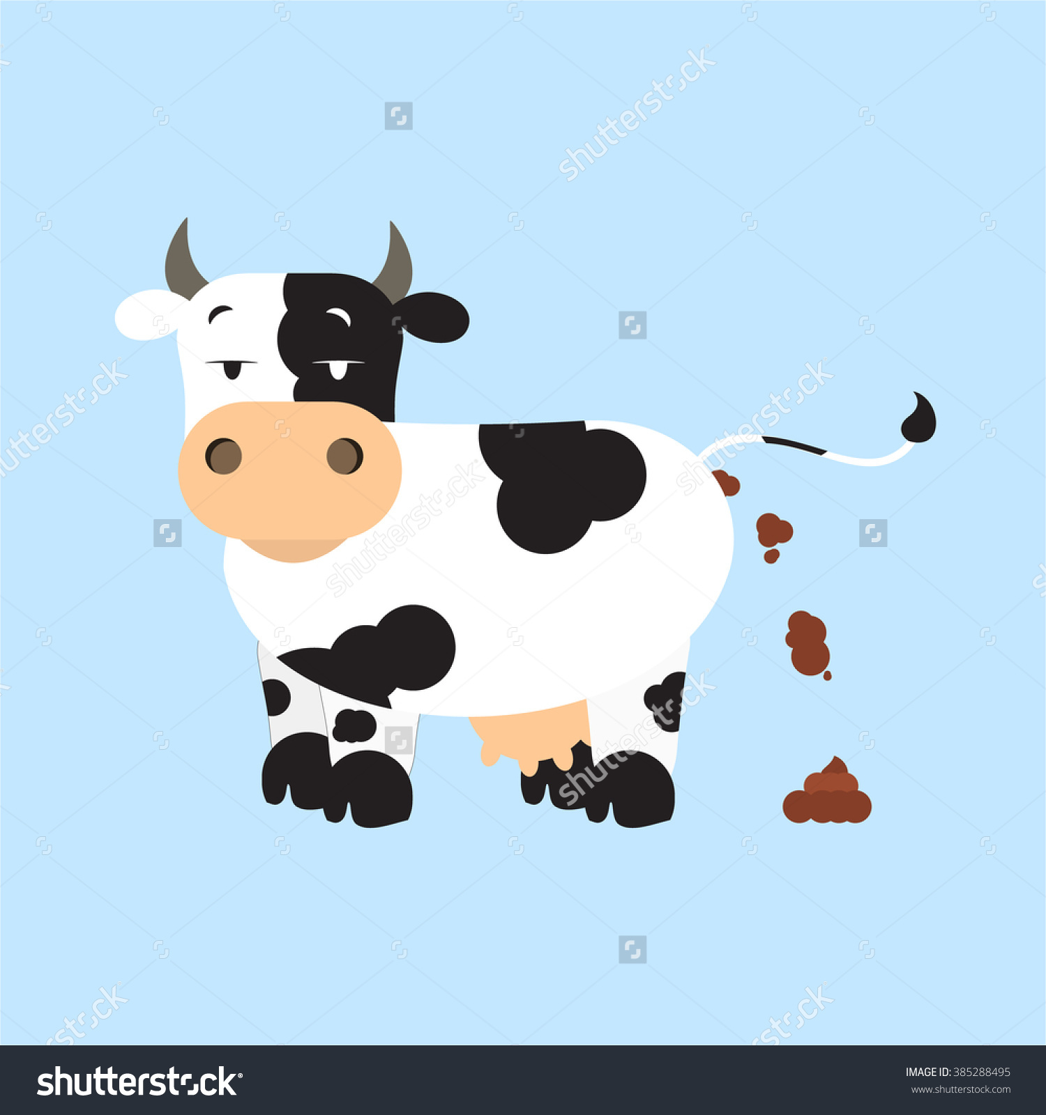 Cow Shitting Dutch Dairy Cow Pooping Stock Vector 385288495.