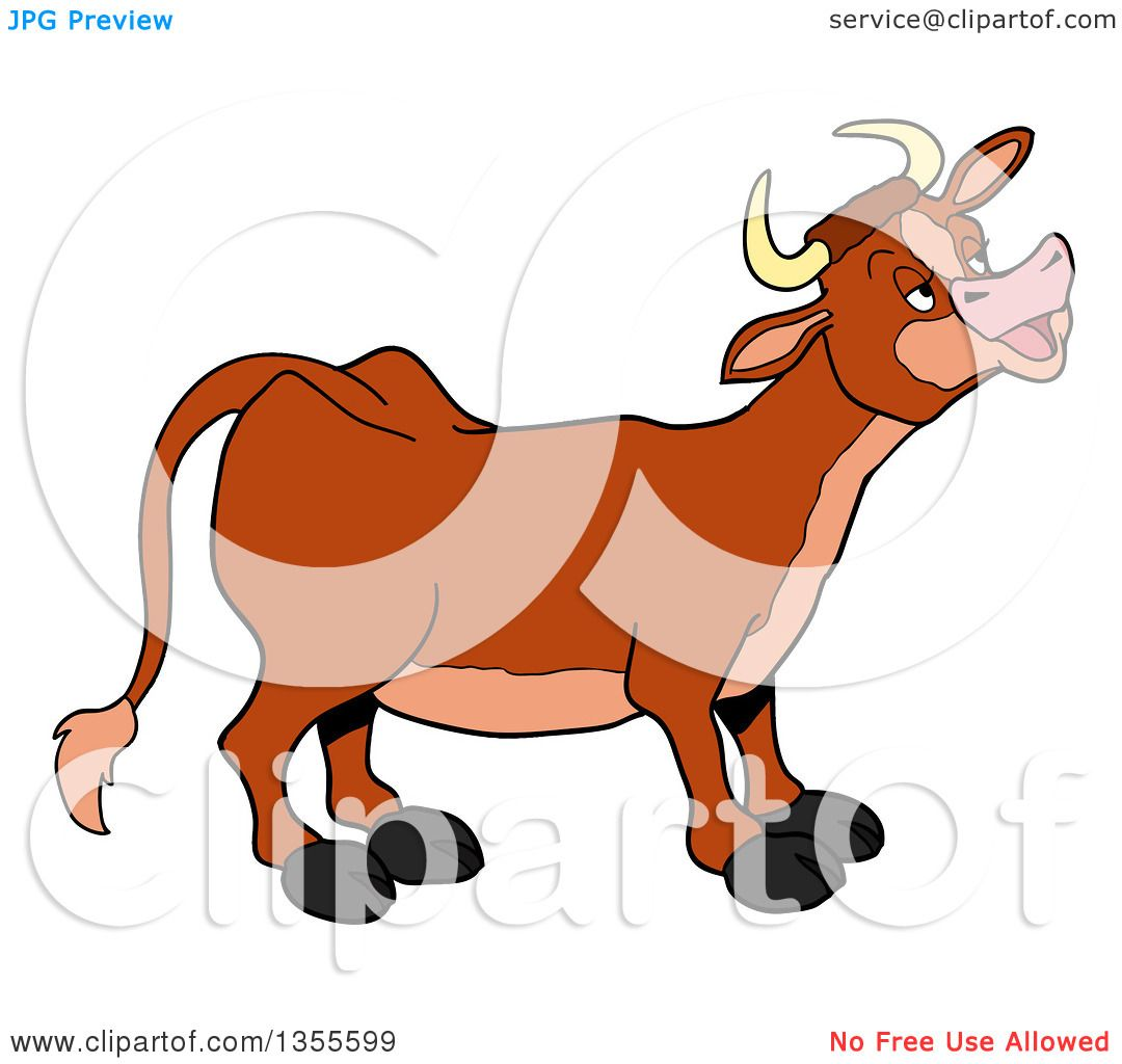 Clipart of a Cartoon Mooing Cow.