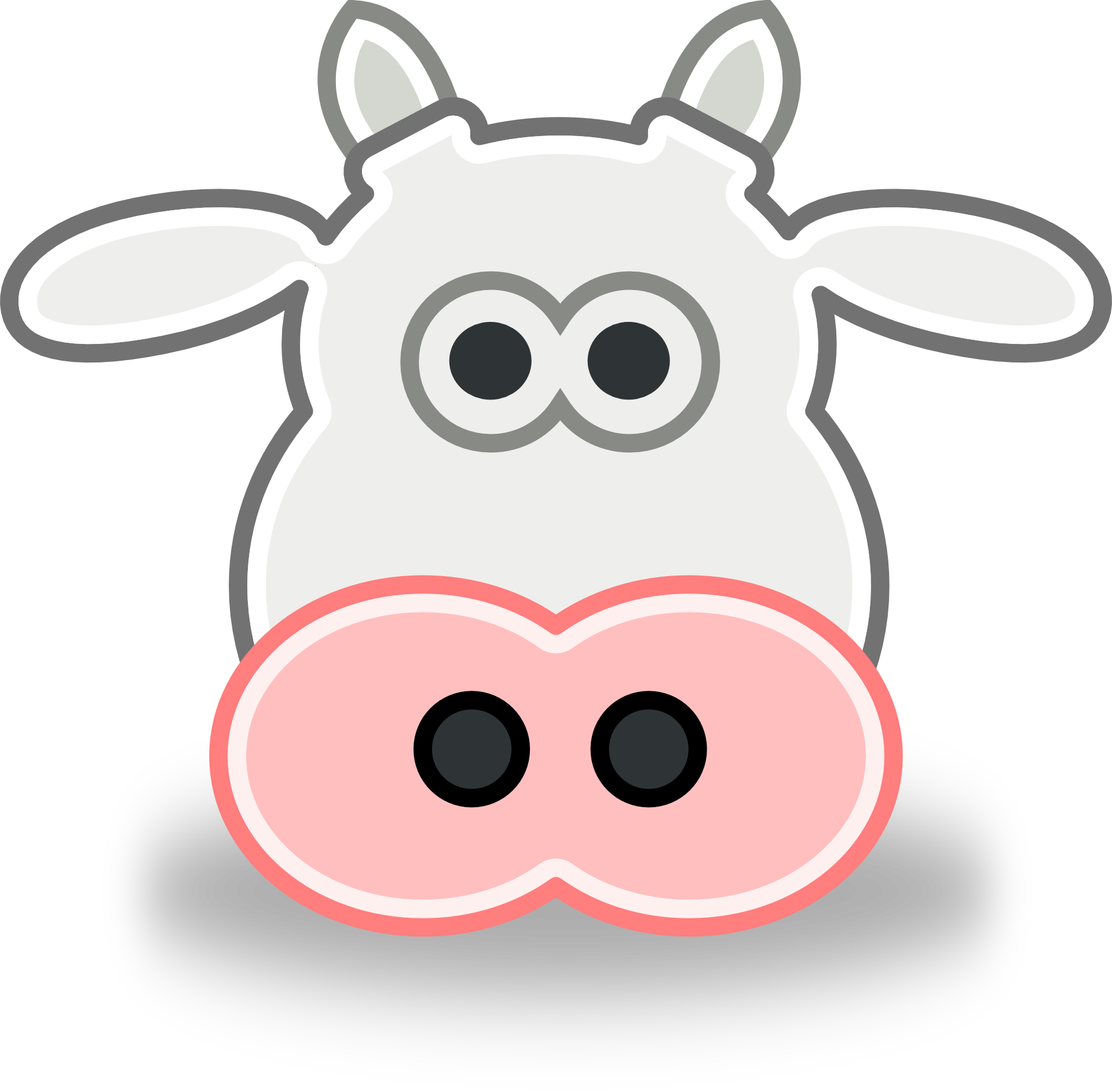 Clipart,picture of white cow with pink nose free image.