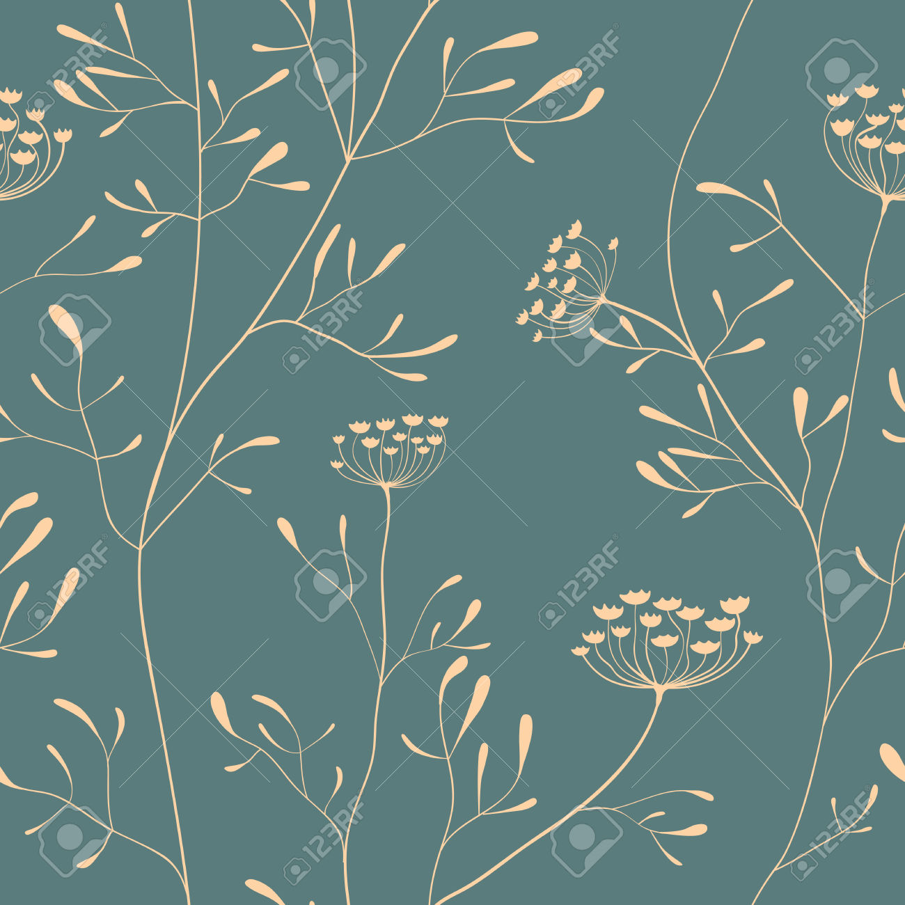 Cow Parsnip Vector Seamless Pattern In Delicate Color Royalty Free.