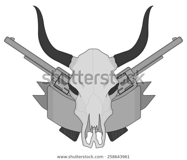 Wild West Cow Skull Pistols Ribbon Stock Vector (Royalty Free) 258643961.