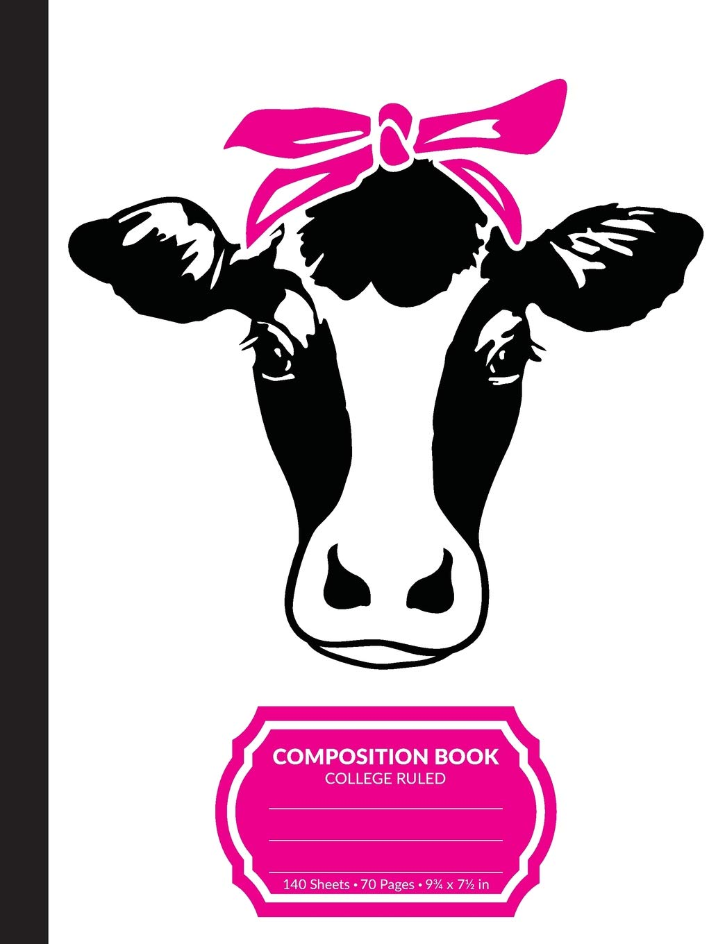 Composition Book: Cow With Bandana College Ruled Blank Lined.