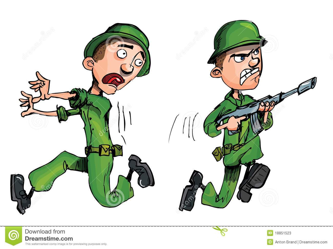 Charging Soldier And A Fleeing Soldier Stock Photos.