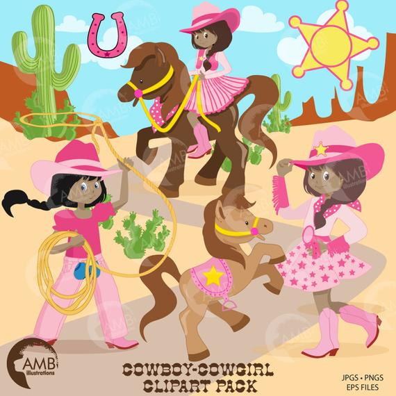 Cowgirl clipart, Cowboy Clip Art, African American Cowgirl, Rodeo.