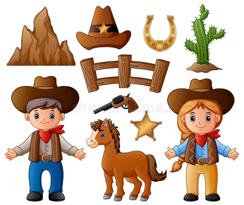 Cowboy Cowgirl Stock Illustrations.
