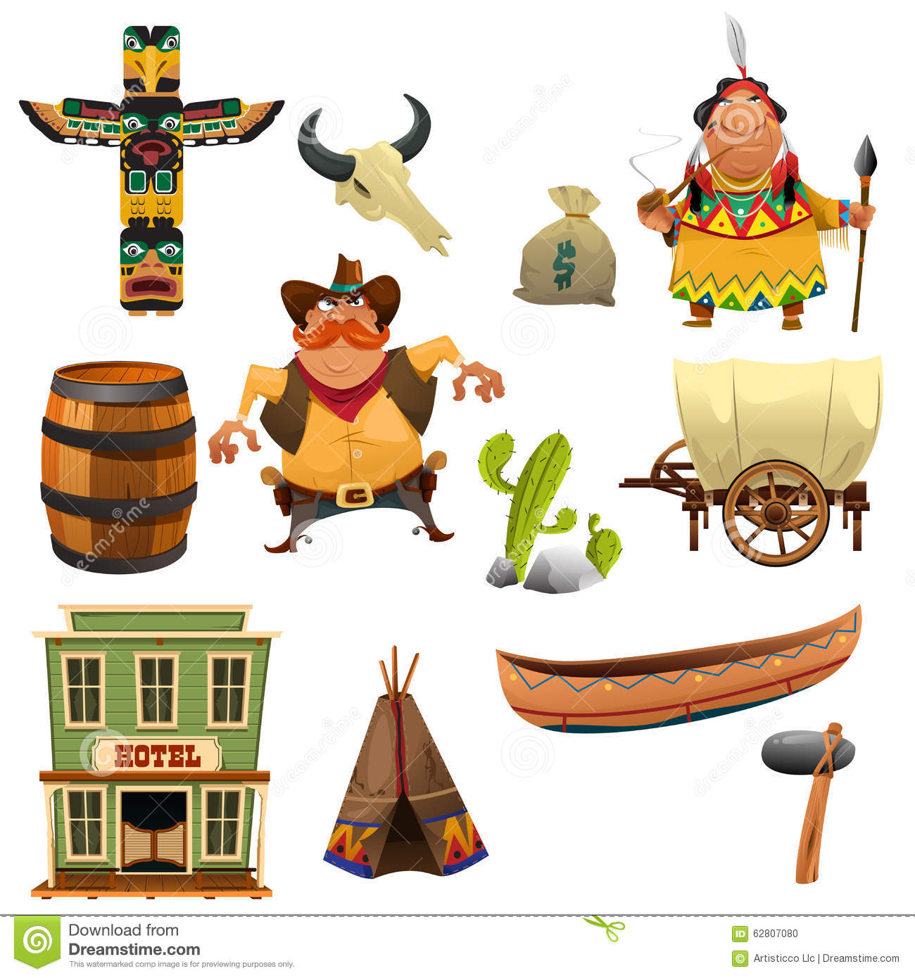Cowboys And Indians Icons Stock Vector.