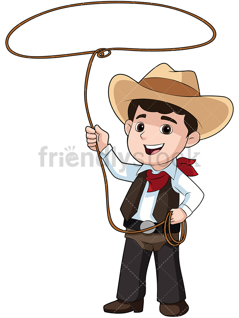 Kid Dressed As Cowboy With Lasso.