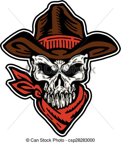 Cowboy Skull Bandana Clipart
