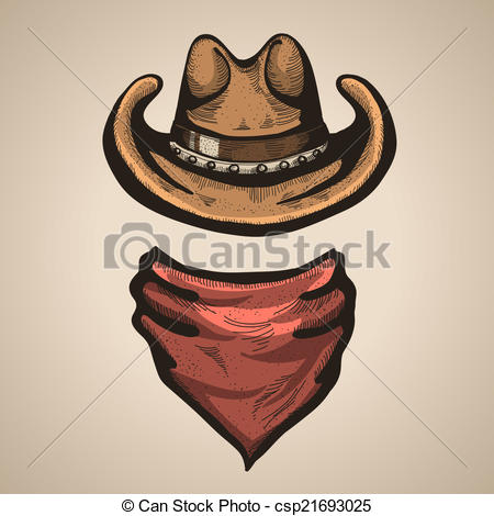 Vector Illustration of Cowboy hat and bandana scraf.Vector.