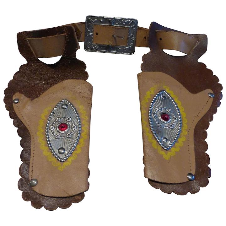 Vintage Child's Toy Cowboy Belt & Holster Set Leather w Conchos.