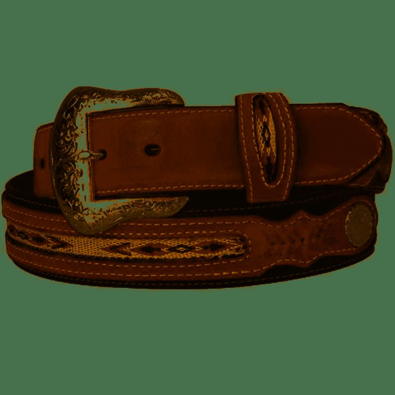 Black/Brown Western Design & Silver Conchos Nocona Leather Belt.