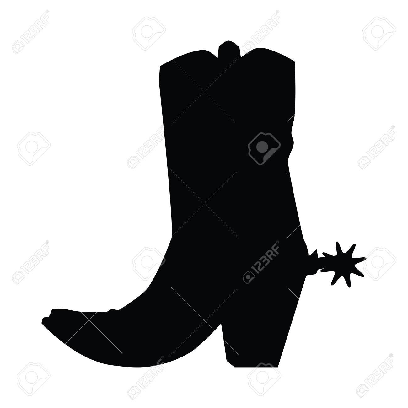 A black and white silhouette of a cowboy boot with Spur.