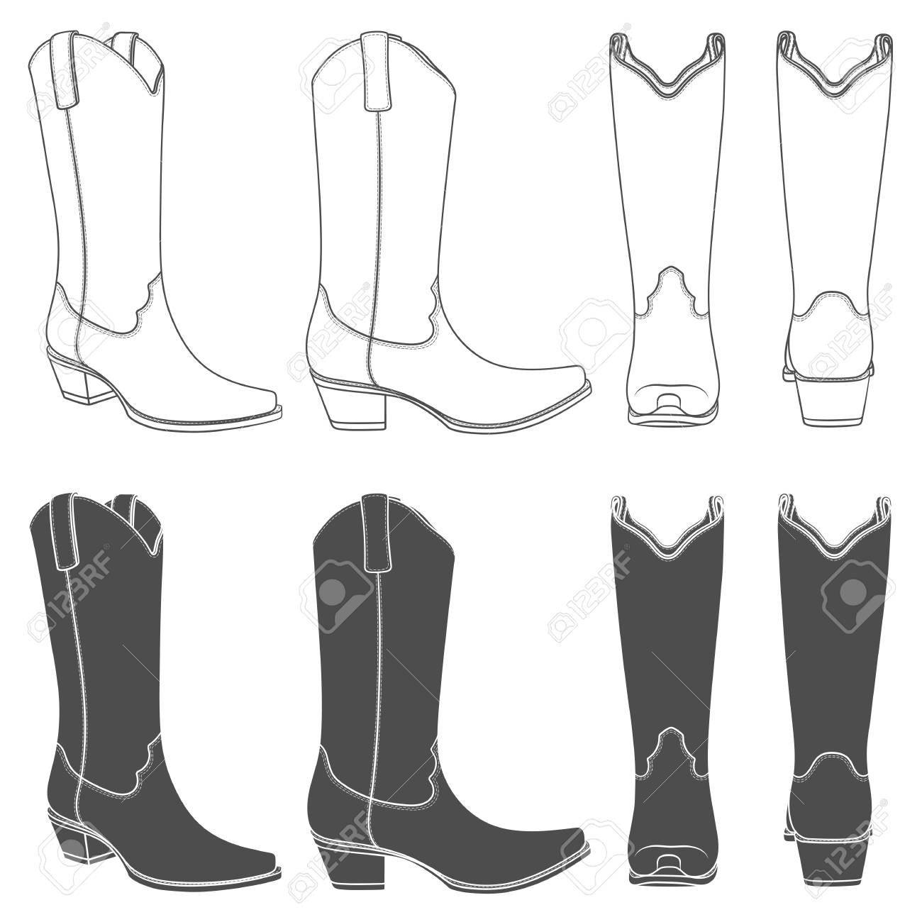 Set of black and white illustrations with cowboy boots. Isolated...
