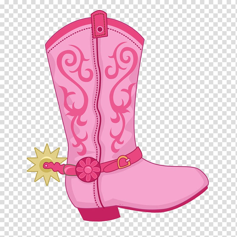 Unpaired pink cowboy boot illustration, Cowboy boot Hat \'n\' Boots.