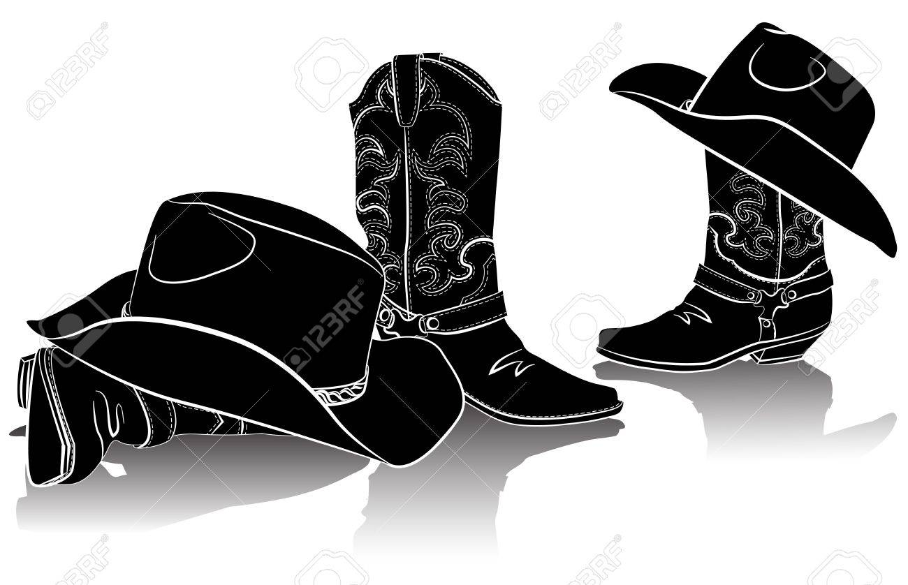 cowboy boots and western hats.Black graphic image on white.