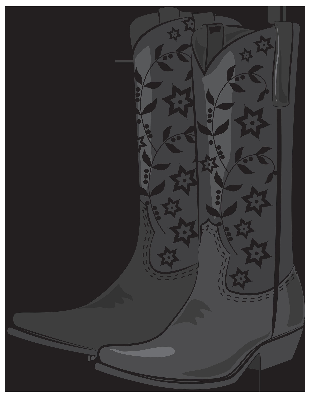Black Cowboy Boots PNG Clipart.
