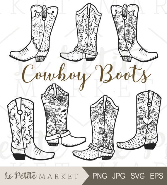 Cowboy Boot Clip Art, Hand Drawn Cowboy Boots, Cowgirl Boots.