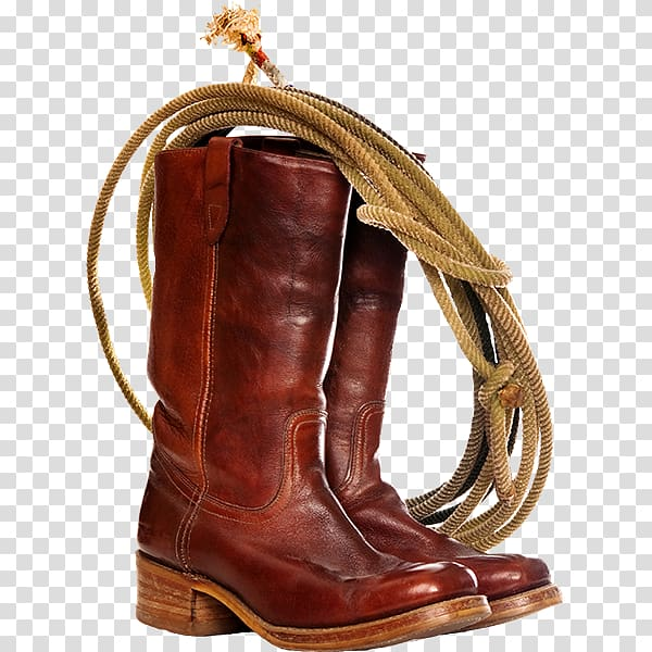 Pair of brown leather boots, Cowboy boot Lasso , Creative.