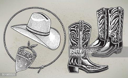 Cowboy Hat, Boots, Bandana, Lasso.
