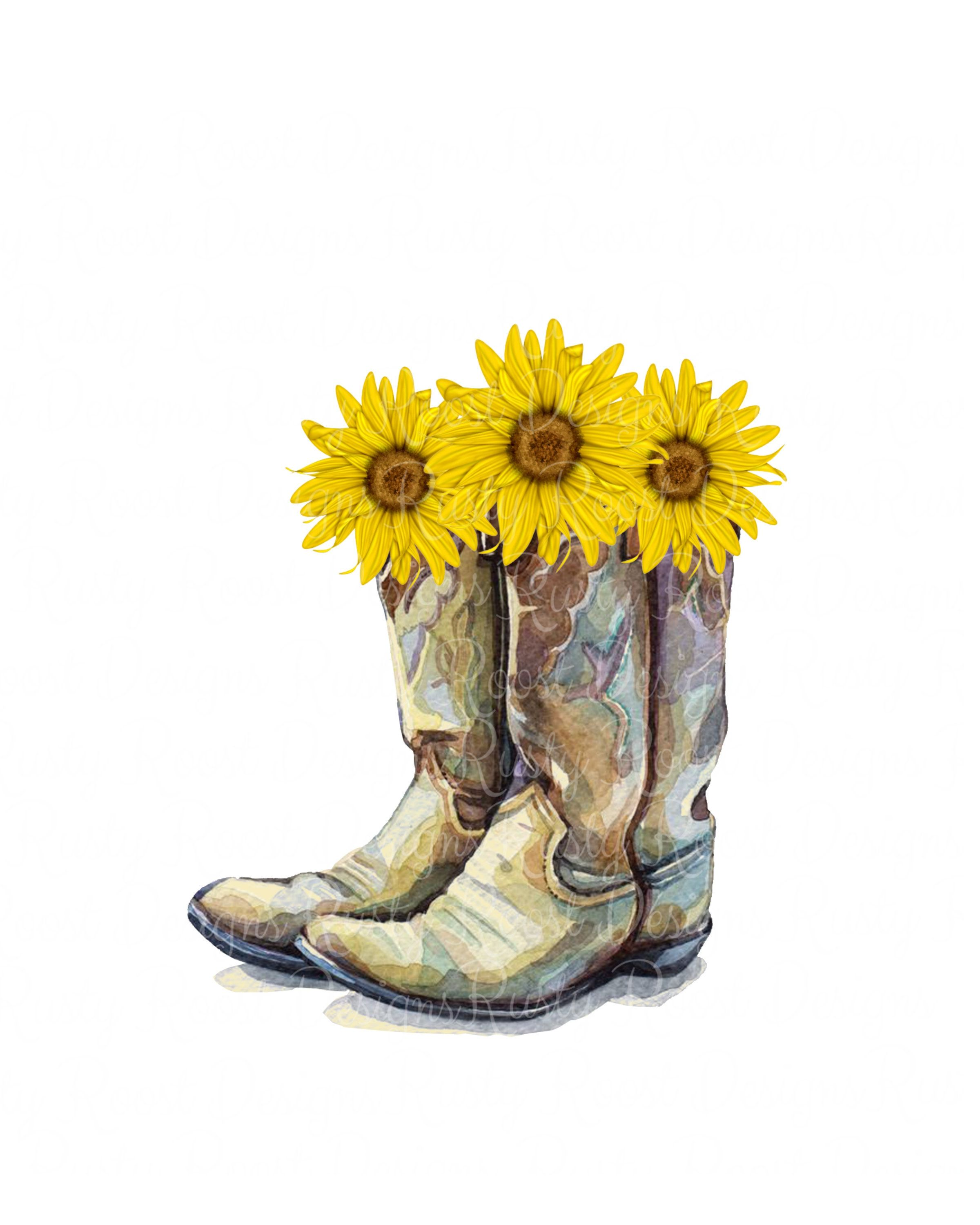 Cowgirl boots png,cowgirl boots with sunflowers,sublimation design.