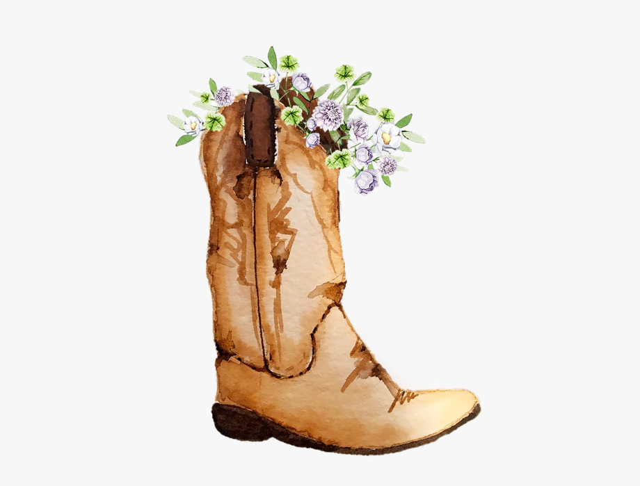 Cowboy Boots And Flowers Png.