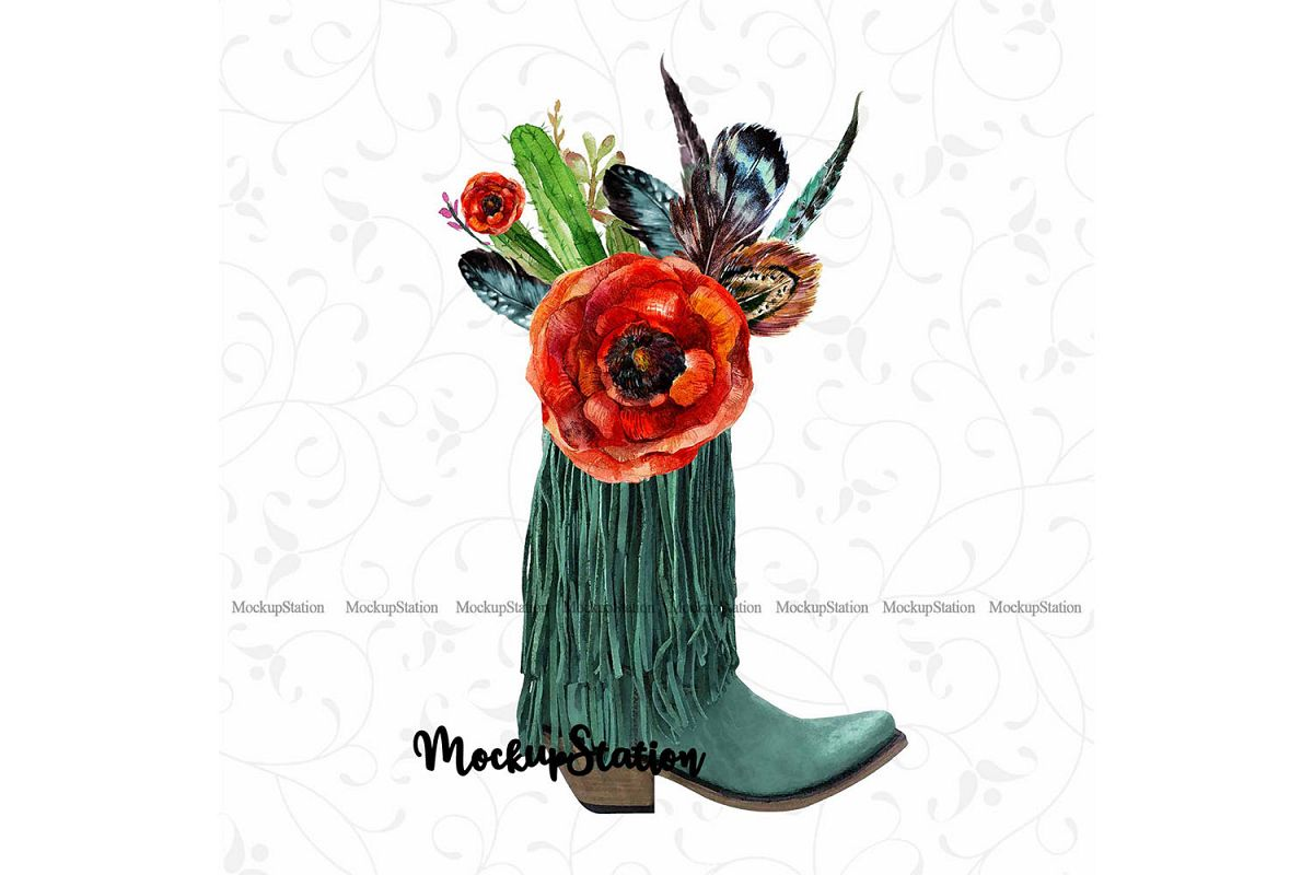 Sublimation Boots PNG Design, Boho Texas Western Clip Art.