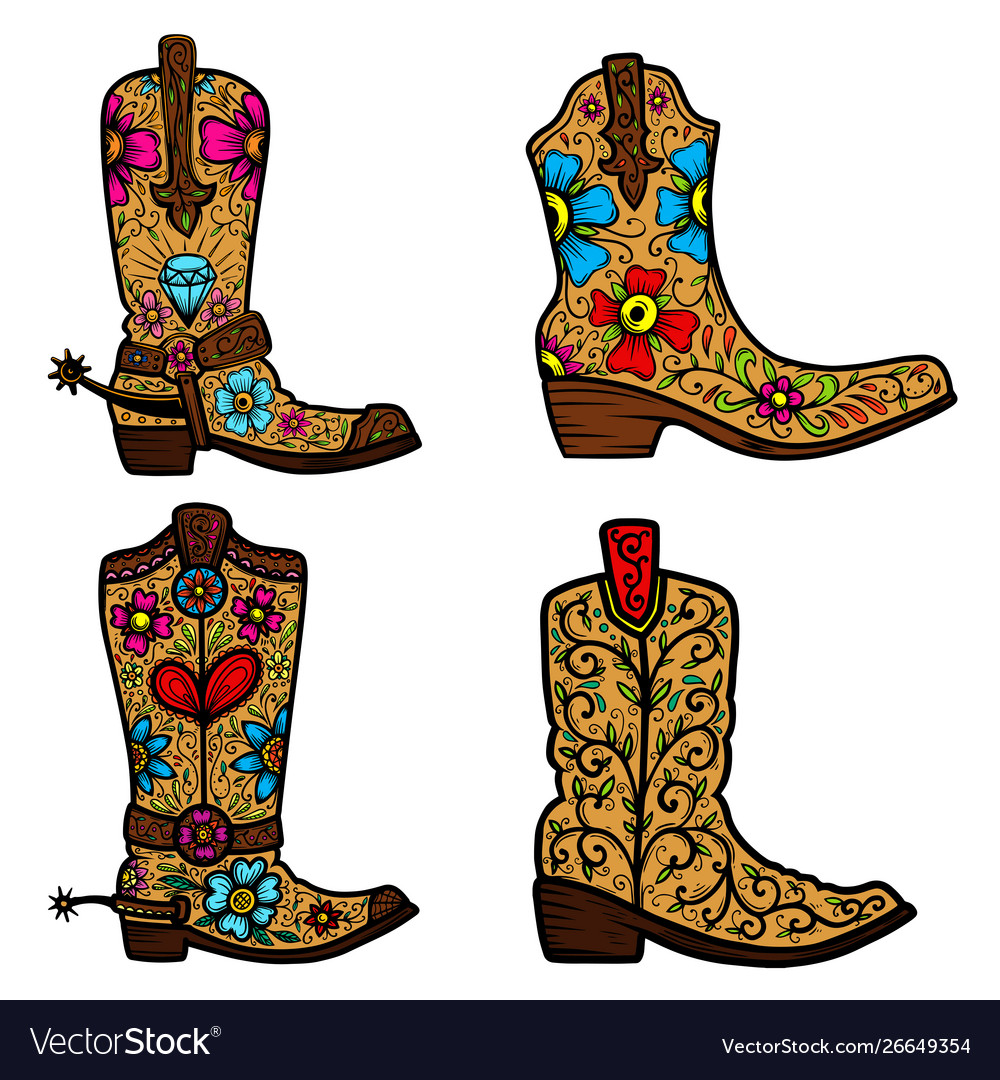 Set cowboy boot with floral pattern design.