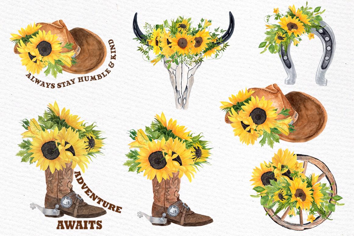 Sunflower Clipart, WESTERN CLIPART,Cowboy clipart,Cowboy set.