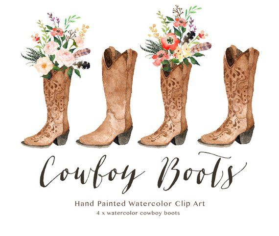 Watercolor cowboy boots/Wedding/Clip art collection.