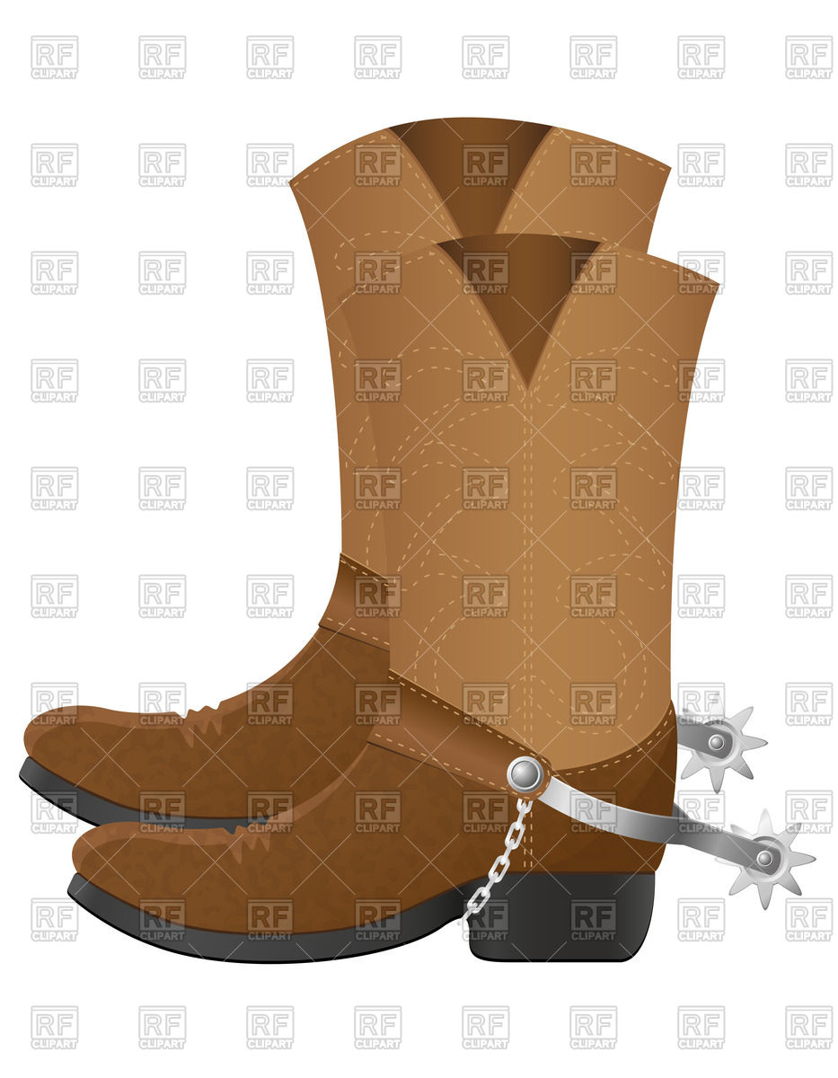 Leather cowboy boots with spurs isolated on white background Stock Vector  Image.