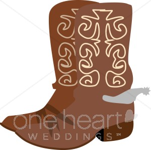 Brown Cowboy Boots with Silver Spurs Clipart.