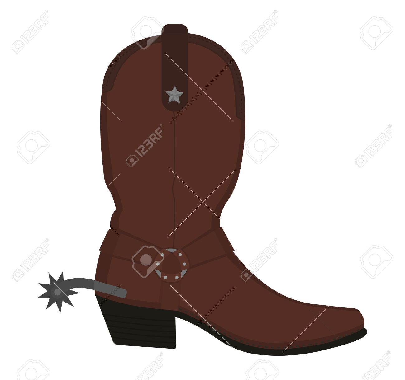 Wild west leather cowboy boot with spur and star. Color vector...