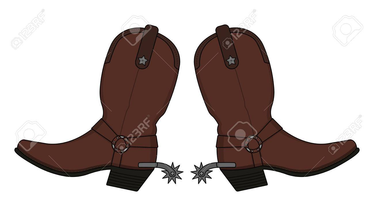Wild west leather cowboy boot with spurs and stars. Vector clip...