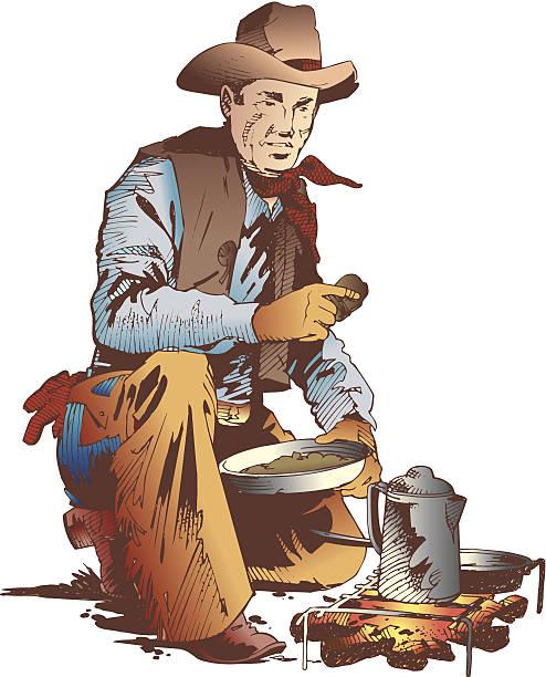 Best Cowboys Campfire Illustrations, Royalty.