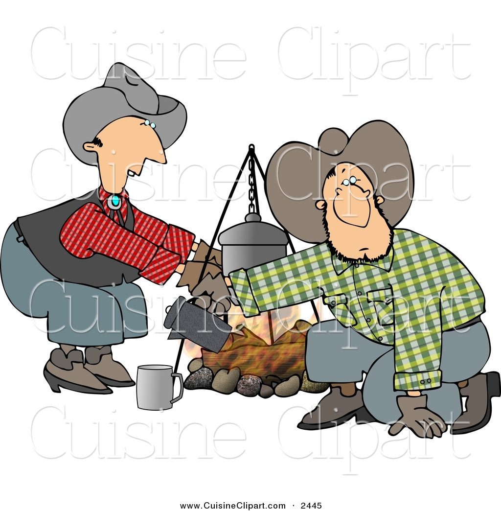 Cuisine Clipart of a Cowboy and Cowgirl Standing and Kneeling Beside.