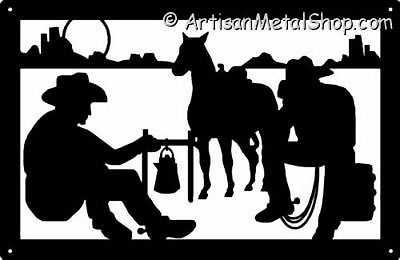 Western Cowboys at Campfire Metal Wall Art Silhouette Plaque Made in.