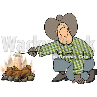 Cowboy Man Roasting a Marshmallow Over a Campfire Clipart © djart #5056.