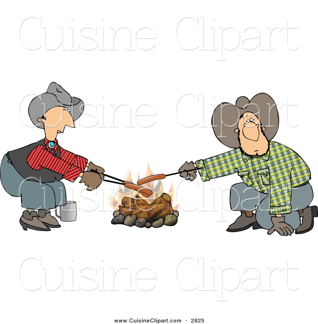Cuisine Clipart of a Pair of Gay Cowboys Cooking Hot Dogs over a.