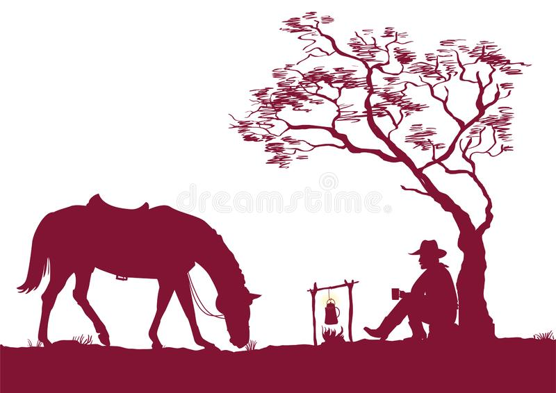 Cowboy Campfire Stock Illustrations.