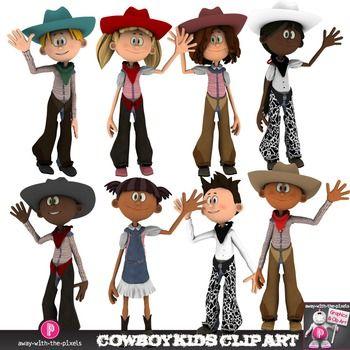 Cowboy Kids Clip Art.