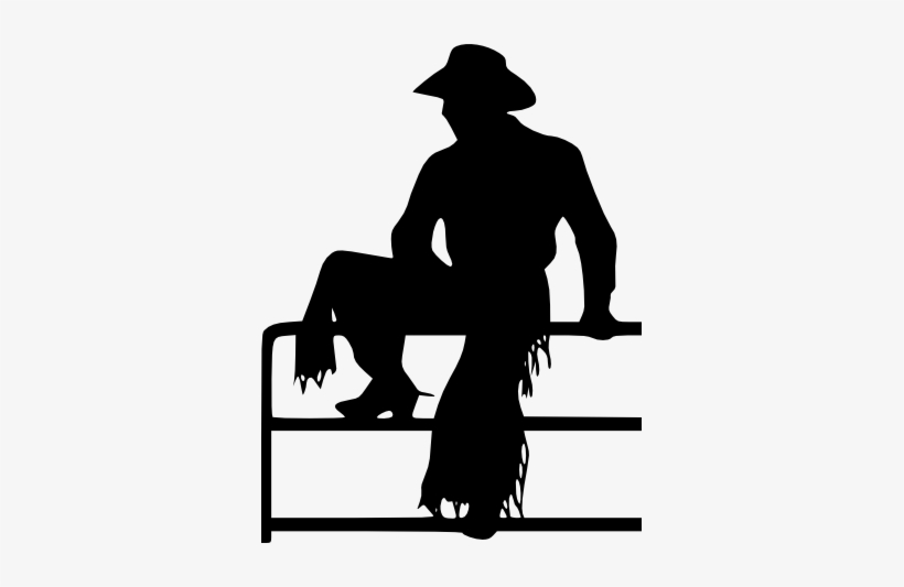 Cowpoke Cowboy On Fence Silhouette Picture In Black.