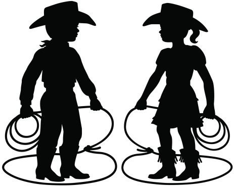Cowboy and Cowgirl children silhouettes..