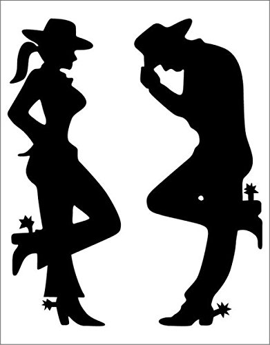 Cowgirl And Cowboy Silhouette.