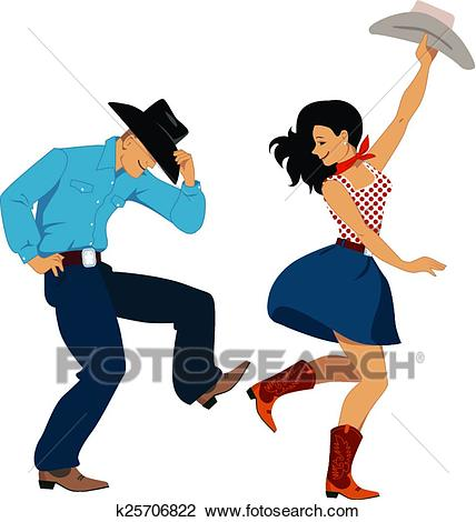 Country western dancers Clipart.